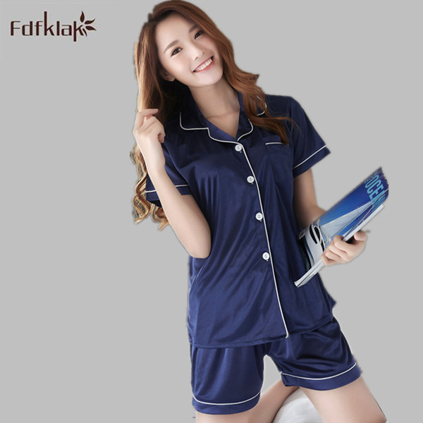 778506d672 Sexy Pajamas Summer Pyjama Home Clothes Satin Shorts Pajamas Silk Pyjamas  Ladies Short Sleeve Night Wear Sleepwear Sets E1168