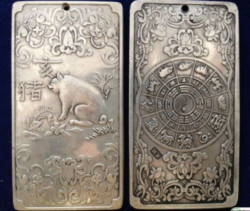 "Old Chinese""Ssangyong longevity /"" tibet Silver Bullion Pendant amulet Statue"