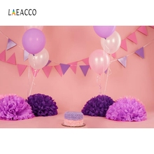 Laeacco Colorful Balloons Flags Cake Baby Birthday Photography Backgrounds Customized Photographic Backdrops for Photo Studio