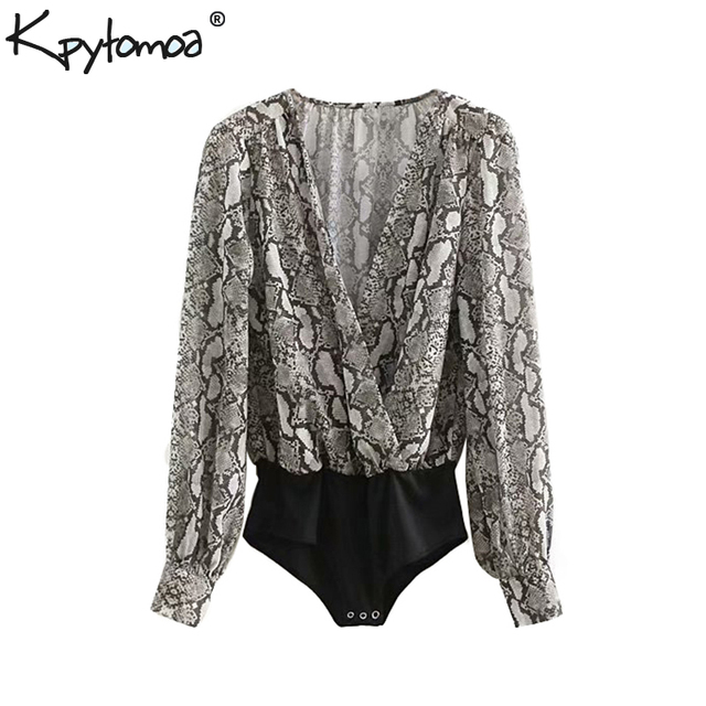 e678ae9d31e Vintage Sexy Flowy Snakeskin Printed Bodysuits Women 2018 Fashion Deep V  Neck Long Sleeves Pleated Playsuits