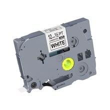1PCS 12mm Zwart op Wit Tapes TZe 231 TZ2 231 Gelamineerd Label Tape Compatibel voor Brother p touch Label Printers