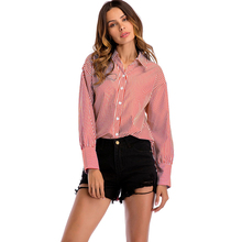 VZFF Women Blouses  2019 New Long Sleeve Lapel Office Stripe Blue or Red Shirt Womens Casual Tops Spring