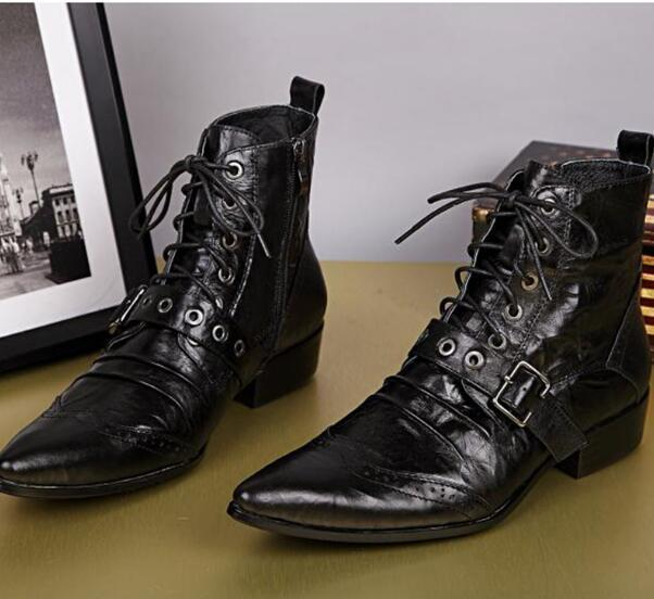 df463519d1a9f Mens Black Leather Boots Fashion Designer Lacing Up Buckle Strap Pointed  Toe Short Motorcycle Boots Men EU38-46
