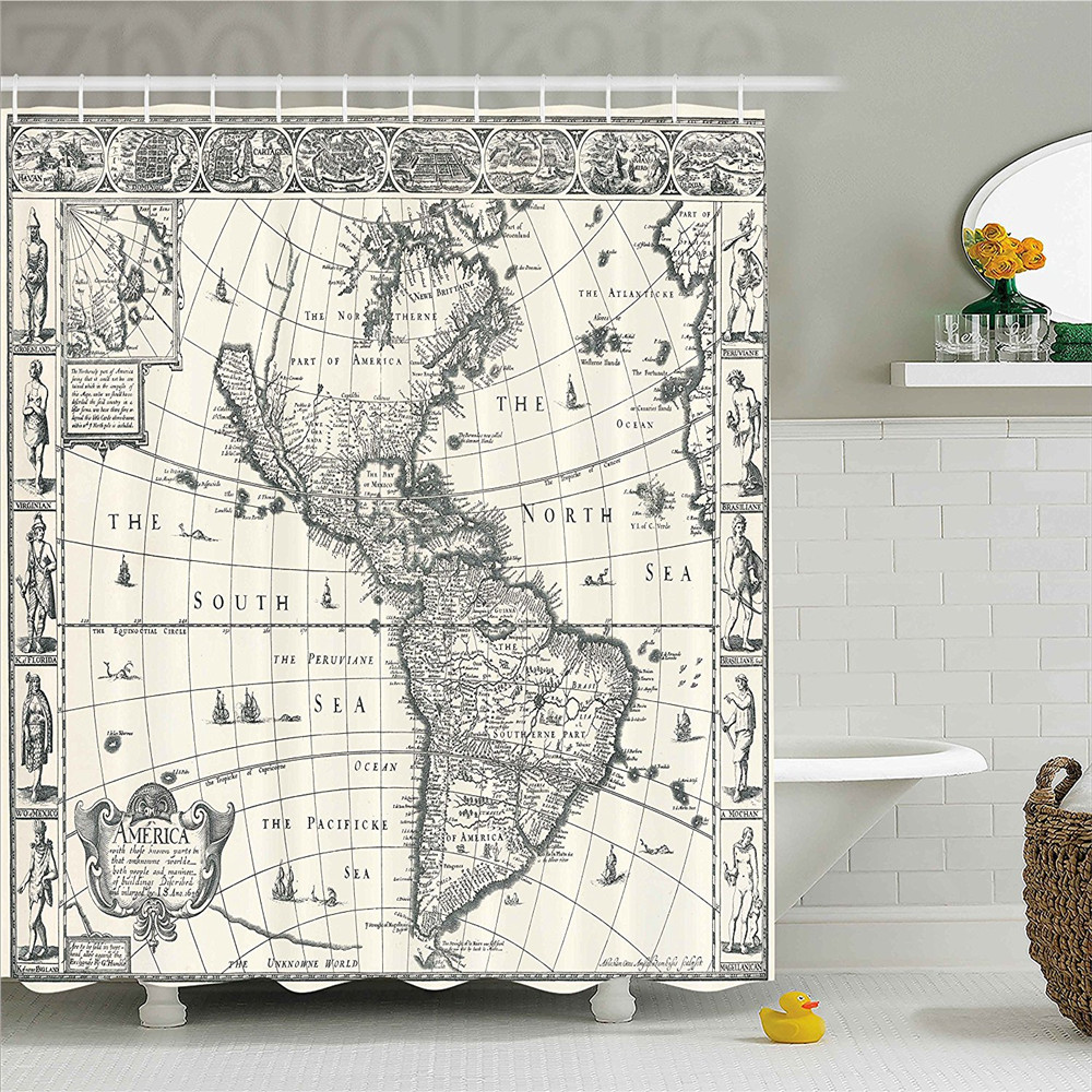 Wanderlust Decor Shower Curtain Set Image of Antique Map America in 1600s World in Medieval Time Ancient Era Retro Home Decor Ba