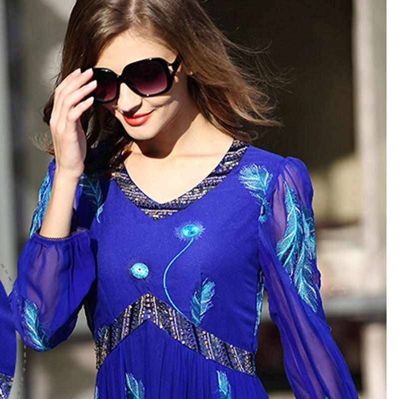 Broderie À La Dames Body Tenue 2019 Perles Femmes V Fait K141 Col Mode Décontractée Bleu En Nouvelle Main Femme Printemps Vestidos Robe Florale KJc1lF