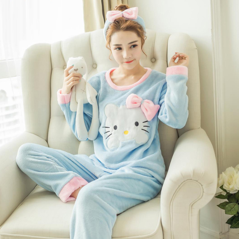 Yidanna 2 pieces women   pajamas     sets   cat prints sleep clothes thick Flannel animal sleepwear in winter for girl female nightdress