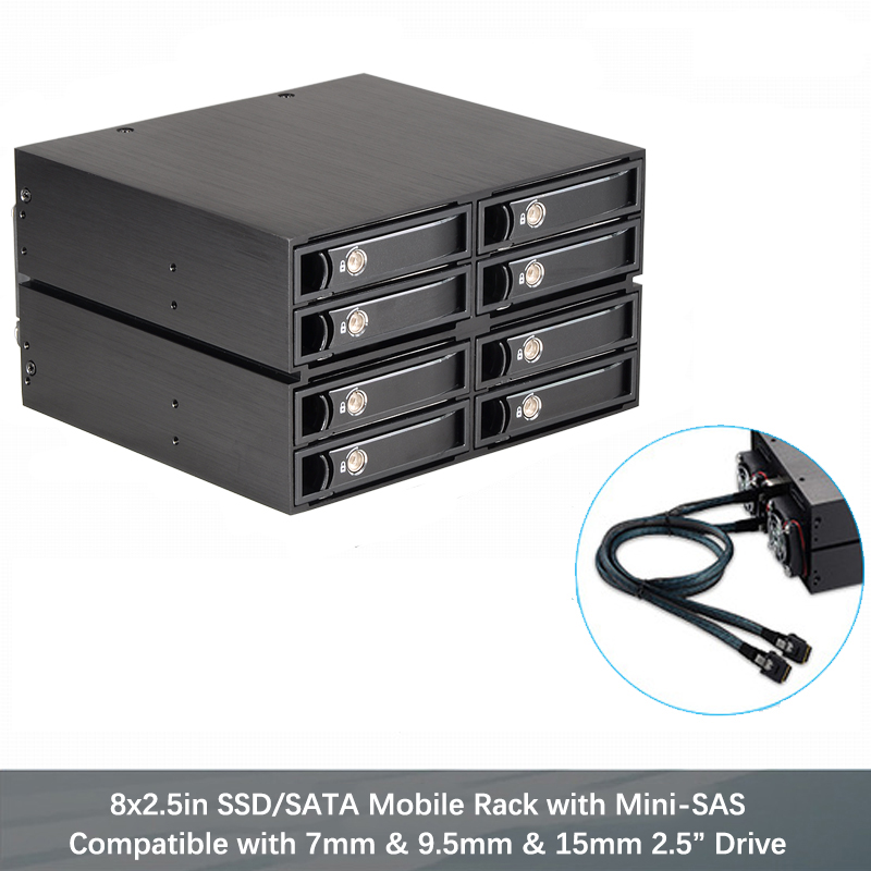 2.5in Aluminum 8-bay SATA Mobile Rack Backplane For Optical Drive Bay Mini-sas Interface 7-15mm Hard Drives Enclosure