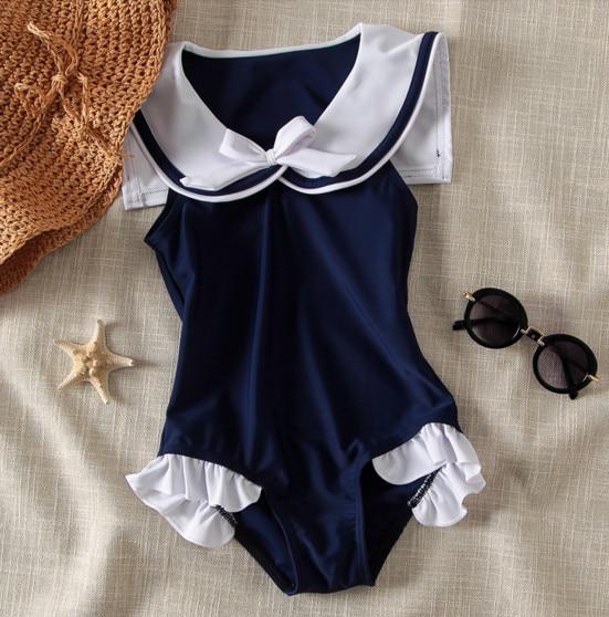Nyan Cat Baby girls swimming suit summer blue navy sailor swimwear+hat 2pcs set infantil toddler kids spa beach bathing clothing