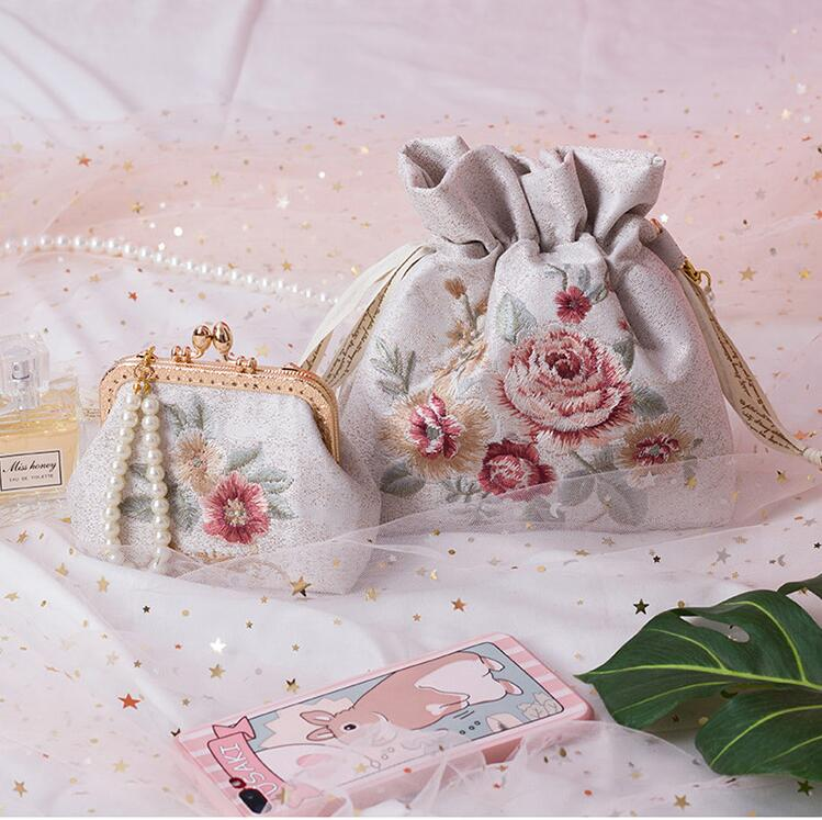 Angelatracy 2019 New Arrival Mori Women Vintage Embroidery Flower Pearl Chain Storage Bag Summer Crossbody String Bag Bucket