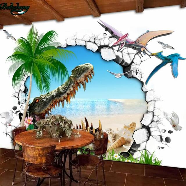 Beibehang Large Wallpaper Mural Custom Any Size Three: Beibehang Large Custom Wallpaper 3D Dinosaur Crocodile