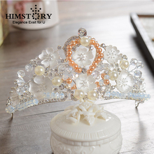 HIMSTORY Classic Crystal Rhinestone Crown Tiara Bride Silver Color White Flower Pearl Princess Hair Accessory