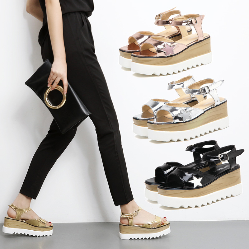 2017 Summer High Heels Sandals Platform British Summer Wedges Peep Toe  Casual Buckle Women's Sandals Silver/Gold Femme Shoes phyanic 2017 gladiator sandals gold silver shoes woman summer platform wedges glitters creepers casual women shoes phy3323