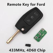 Для ford mondeo фокус fiesta c-max s-max galaxy 3 кнопки 433 МГц с 4D60 Чип Автозапуск Fob Автосигнализации Новый Пульт Дистанционного Ключа