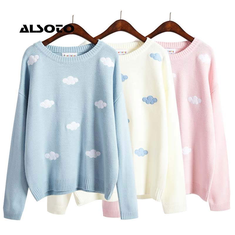 2017 Korean new winter sweaters Harajuku cute 3D clouds hedging thick round neck women sweater