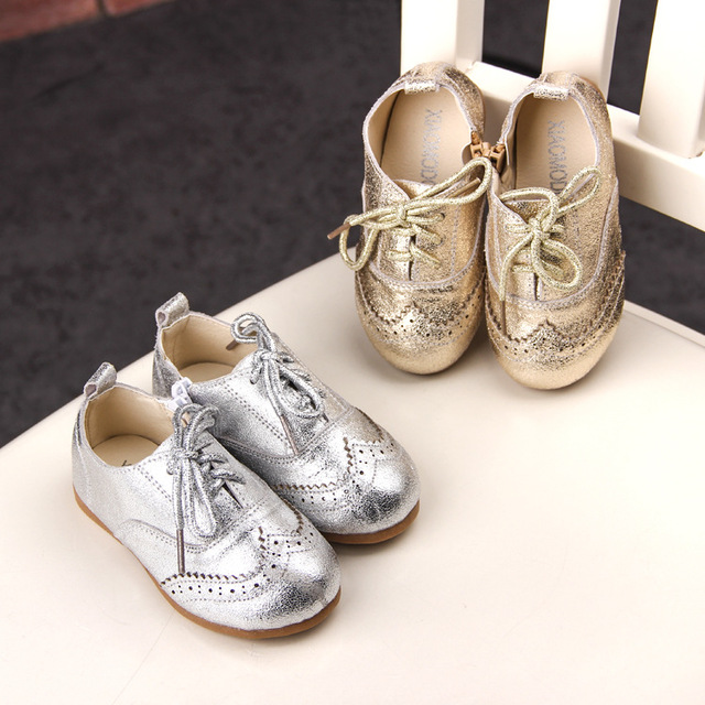 0ea52b918fc PU Leather Glitter Kids Shoes for Children Sneakers Oxford Cool Toddler  Kids Trainers Gold Silver