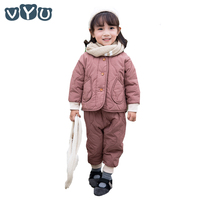 2018 New Fashion Winter Kids Girls Suits Solid Color Thicken Jacket And Pants Cute Gilrs 2 Pieces Set Warm Children Clothes