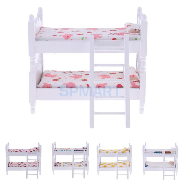 1/12 Scale Dollhouse Miniatures Kids Bedroom Furniture Bunk Bed with Lovely Pattern Printed Mattress for 12th Dolls House