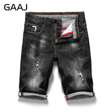 2019 GAAJ Summer Brand Men Jeans Shorts Zipper Fly Regular Stretch Cotton Pants Men's Denim Short Ripped Skinny Solid Black Jean(China)
