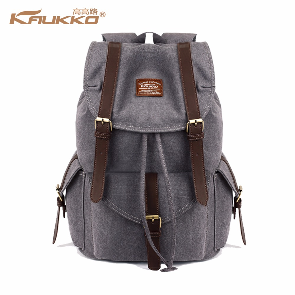 KAUKKO canvas backpack vintage canvas laptop men s backpack school bag  rucksack daypack -in Backpacks from Luggage   Bags on Aliexpress.com  27a879121f7d3