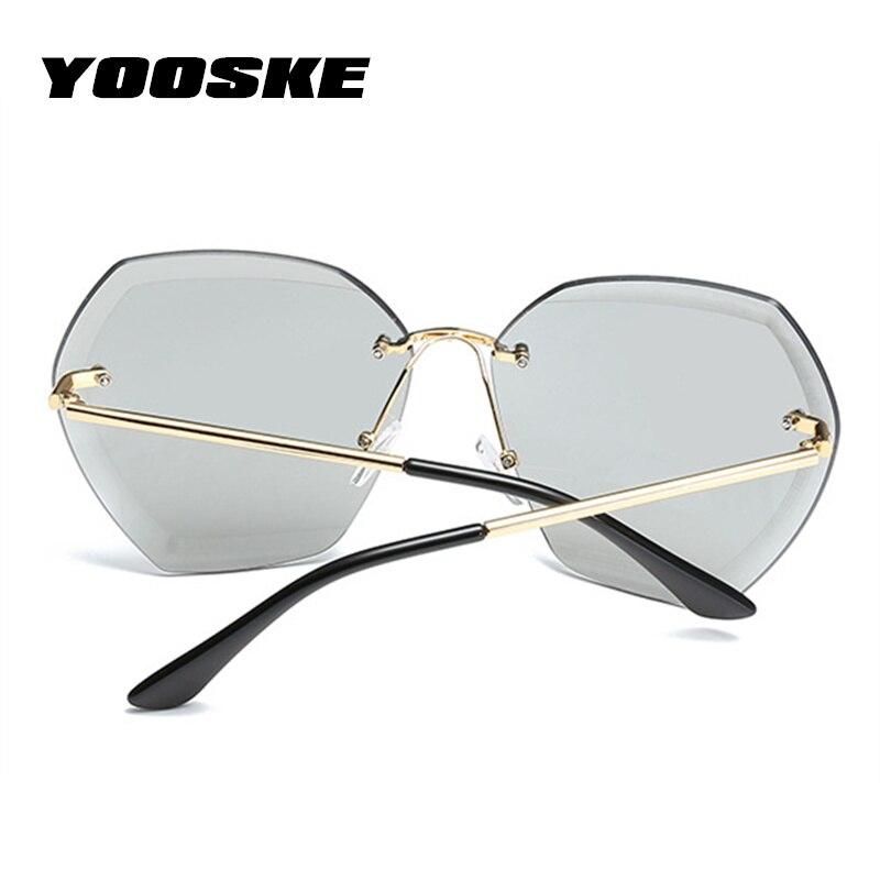 7171ecc326 YOOSKE Oversized Sunglasses for Women Retro Diamond Cutting Lens Sun glasses  Ladies Marine Film Eyewear Frameless Metal Glasses-in Sunglasses from  Apparel ...