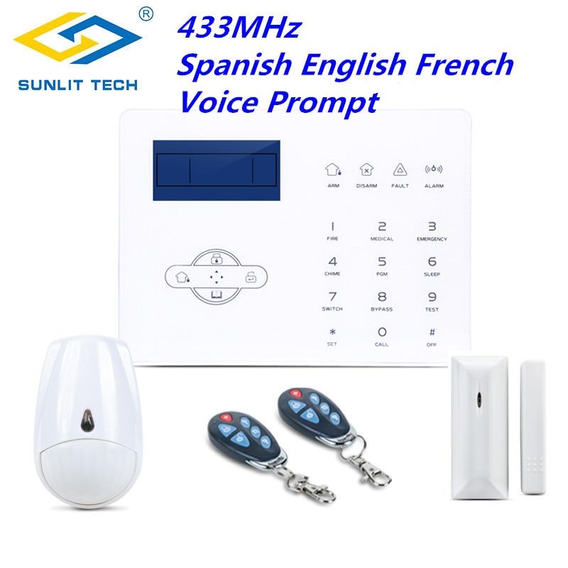Sans fil GSM PSNT maison système d'alarme anti-intrusion pour 433 MHz anglais espagnol français porte ouverte détecteur PIR Pet capteur de mouvement immunitaire