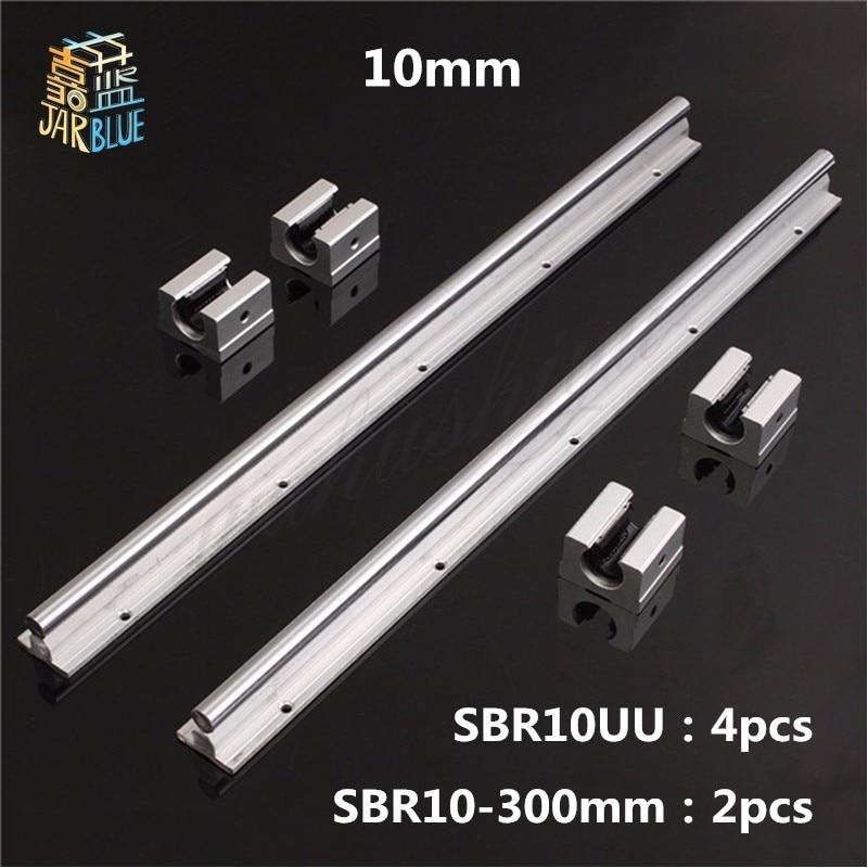 Livraison Gratuite 2 pièces SBR10 L 300mm linéaire support de rail avec 4 pièces SBR10UU linéaire guide auminum portant bloc coulissant CNC pièces