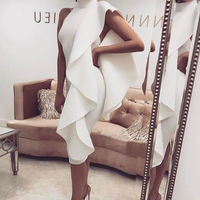 Elegant White Midi Bandage Dress Bodycon Sleeveless Ruffles Frill Knee length Dresses Stand Neck Evening Club Party Dresses