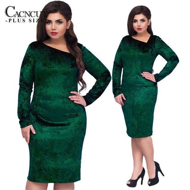 a92df6f5160676 CACNCUT 5XL 6XL Plus Size Velvet Dress Women Evening Party Dresses 2019 Big  Size Vintage Blue