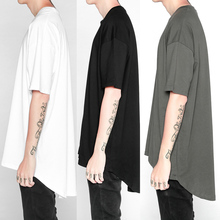 2017 classic plain plus long short sleeve TEE shirt Long Extended T-Shirt Men Summer Curved Hem Longline Hip Hop curved hem tee