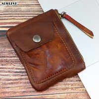 Handmade Genuine Leather Coin Purse Men Woman Vintage Small Mini Zipper Wallets Case Storage Bag Card Holder Pocket Male Female