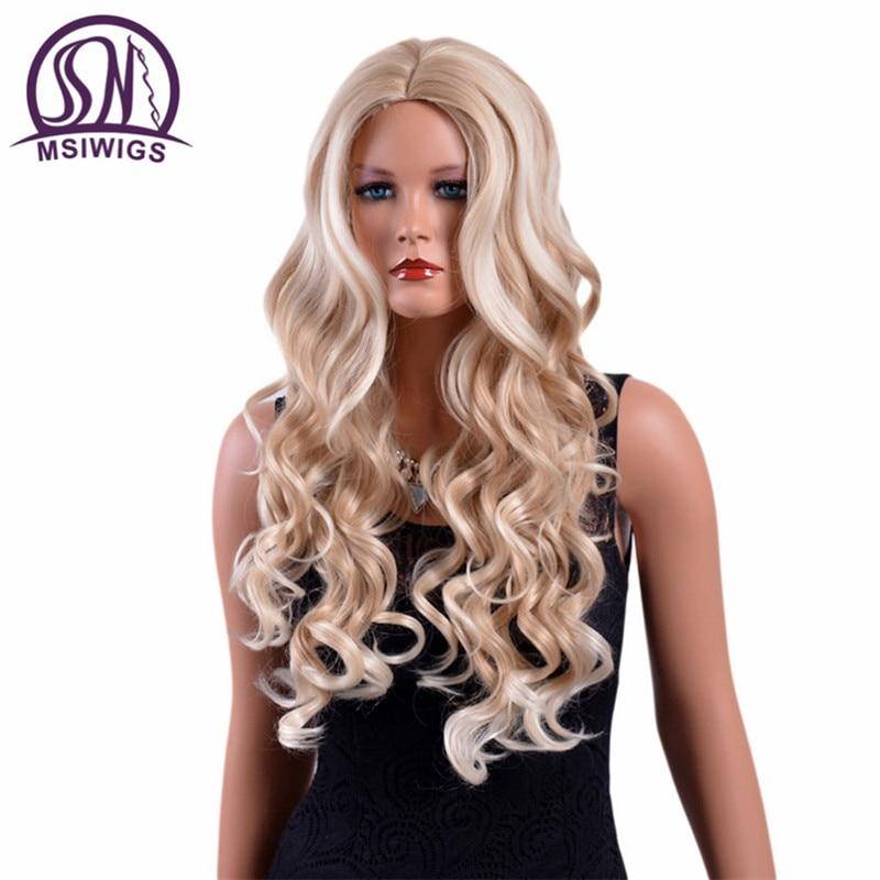 MSIWIGS 26 tum långa vågiga blonda peruker höga temperaturer fiber American Natural Ombre syntetiska perukar för vita kvinnor gratis Hairnet