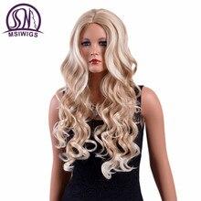Msiwigs 26 дюйм(ов) длинные волнистые Блондинка Perruques высокое Температура Fibra Американский натуральный Ombre синтетический парик для белых женщин Бесплатная сетку