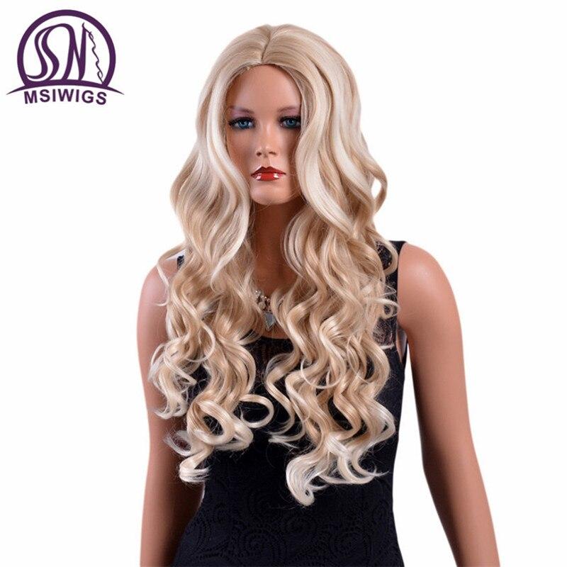 Intelligent Msiwigs 26 Pouces Longue Ondulée Blonde Perruques À Hautes Températures De Fiber Naturel Ombre Synthétique Perruque Pour Les Femmes Blanches Sans Filet Ventes De L'Assurance Qualité