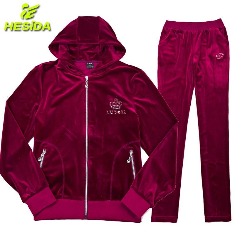 Costume de Sport femmes Sportswear pour les femmes vêtements de Sport velours survêtement Sport porter à capuche veste à capuche femmes course Sport ensemble 2 pièces