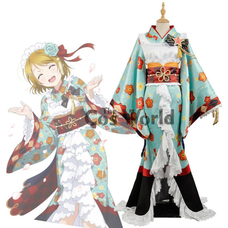 Love Live School Idol Project Koizumi Hanayo Flower Tops Kimono Yukata Dress Uniform Outfit  Anime Cosplay Costumes