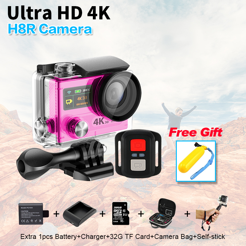New H8R 4K 30fps Action Sport camera 30M Waterproof Dual Screen with 2 4G remote control