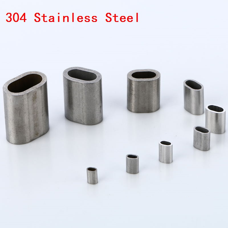 M0.8-1-1.2-1.5-2-2.5-3-4-5-6MM 304 Stainless Steel Oval Wire Rope Ferrules Crimping Sleeves clamps Clip wire cable Fittings