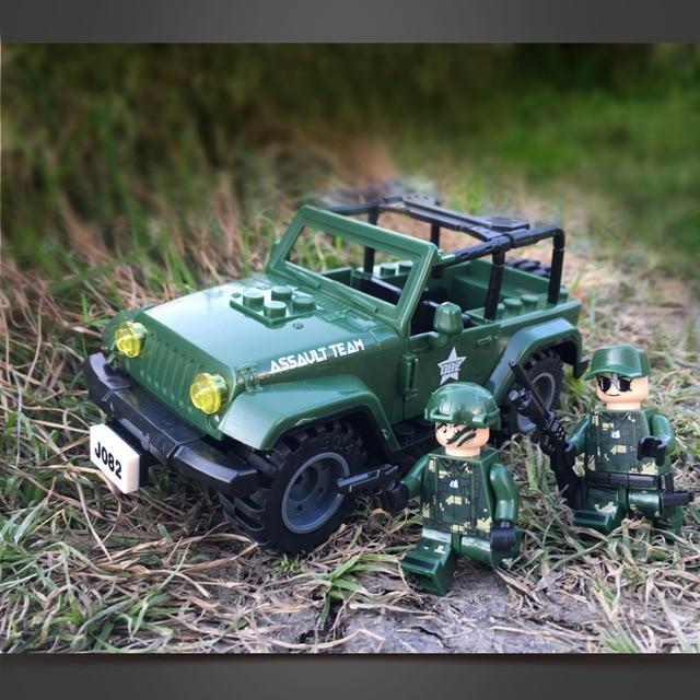 J082 Solar Pequeno Off Road Jeep Wrangler Militar Assalto Montar 108109  Blocos