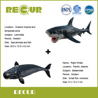 2 Pcs Lot Recur Right Whale Great White Shark Delicate Hand Painted PVC Marine Collection Model