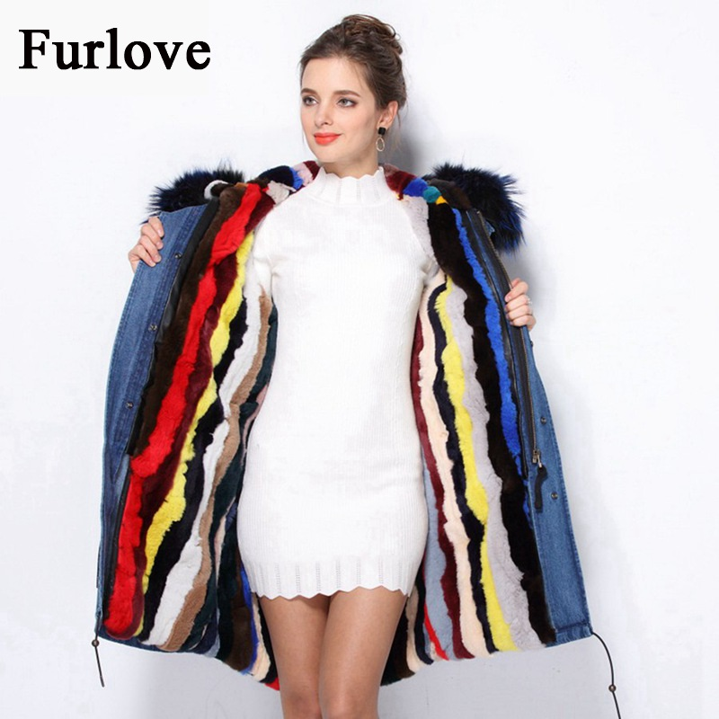 Women Winter Parka femme Real Raccoon Fur Collar Hooded Jacke Rabbit Fur Lining Long Coat Jackets Thick Warm Parkas Plus Size 2017 winter new clothes to overcome the coat of women in the long reed rabbit hair fur fur coat fox raccoon fur collar
