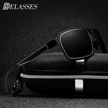 2c7c02b5991c7 Grife Quadrado Preto Óculos De Sol Dos Homens Polarizados HD UV400 DELASSES  Occulos Gafas Óculos de