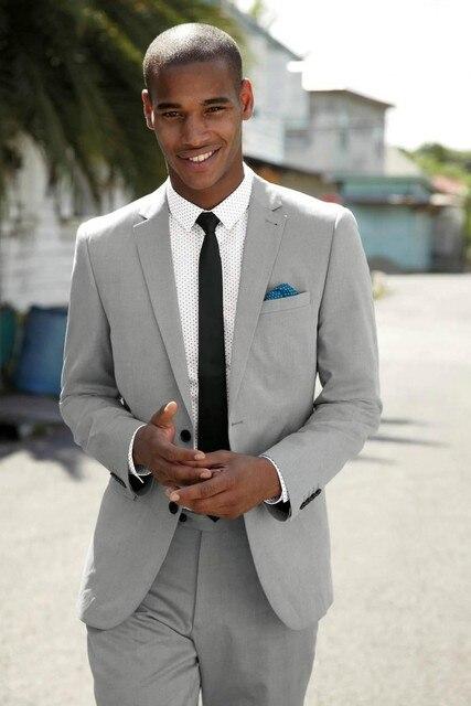 Online Shop Wedding light grey suit man 2 piece suit slim men ...