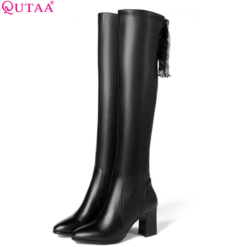 QUTAA 2019 Over The Knee High Boots Women Shoes Platform Zipper Square High Heel Winter Shoes Woman Boots Big Boots Size 34-39 esveva winter zipper pu platform shoes women thick high heel knee high boots buckle lady black riding boots big size 34 43 page 4