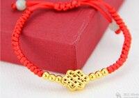 Hot Sale New 1X FINE 24K Yellow Gold Bracelet 3D Craved Chinese Knot Bracelets 1 49g