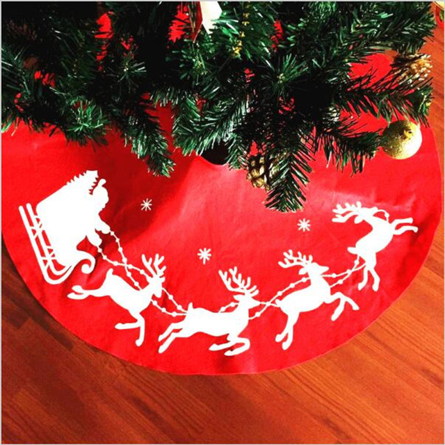 100cm Red Christmas Tree Skirt Round Embroidery Elk Patterns Skirts Xmas Decoration Ornaments