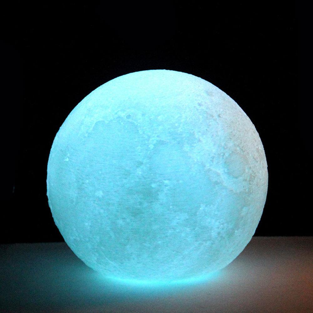3D принт многоцветный настольная лампа светодиодный луна светильник Ночной светильник луна светильник личность лунный светильник луна светильник домашний декор - Цвет: Blue