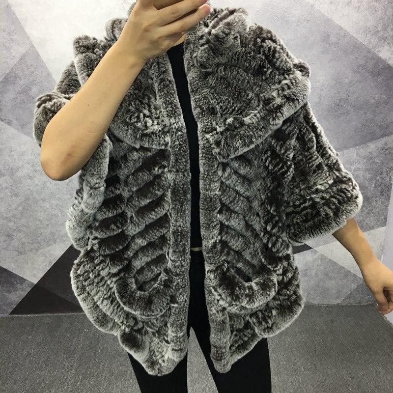 2018 genuine rex rabbit fur shawl and capes fashion big size knitted fur pashmina collars scarves women warm winter wraps femme
