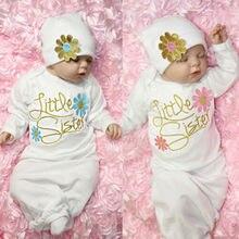 Для новорожденных девочек с длинным рукавом пижамы платье ночное белье Ночной комбинезон с шапочкой платье Bundler Sleepsuit хлопок