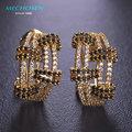 Mechosen multicamadas frança zirconia brincos gancho do parafuso prisioneiro brincos de diamante simulado orecchini donna strass cobre accesorios