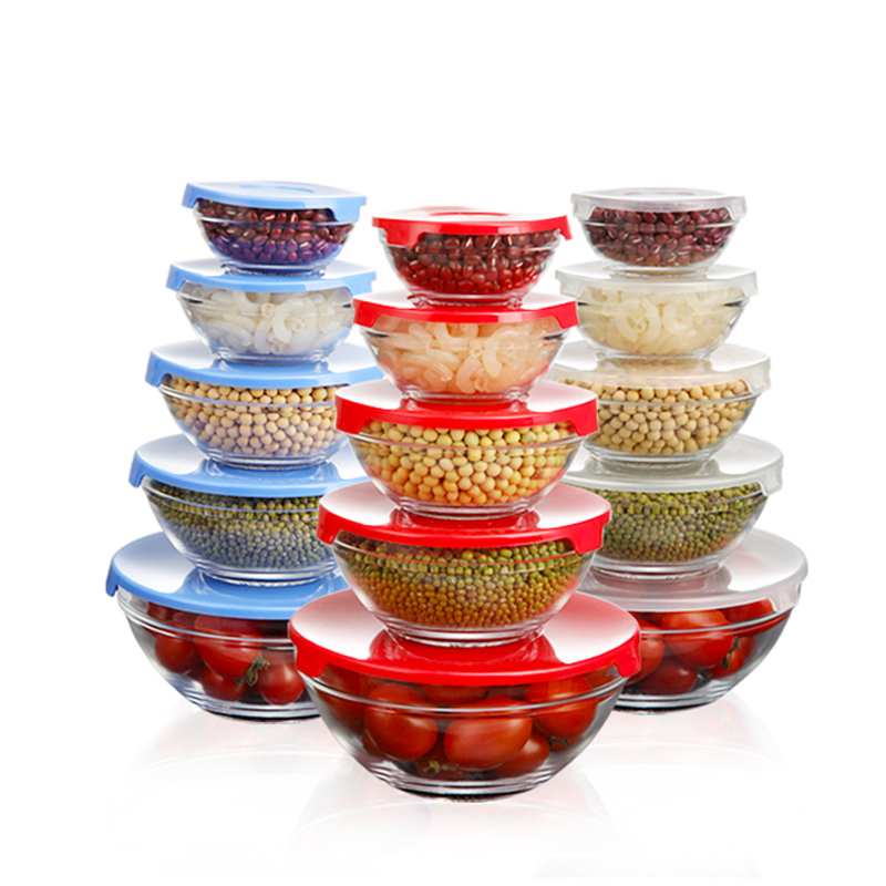 Glass Container For Kitchen Food Storage with Snap Locking Lid 5PCS/SET Kitchen Fridge Organizer